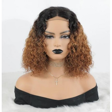 Dark roots 1b 30 ombre curly bob virgin human hair lace front wigs LS1152