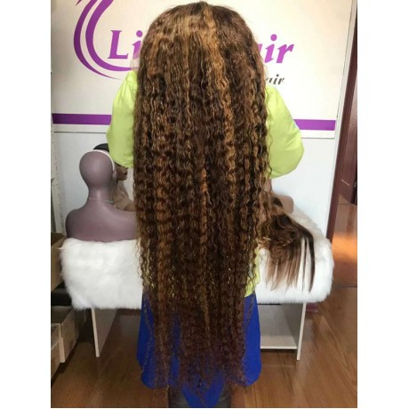 4 27 highlights human hair lace front wigs body wave/ deep curl / silky straight texture LS5271