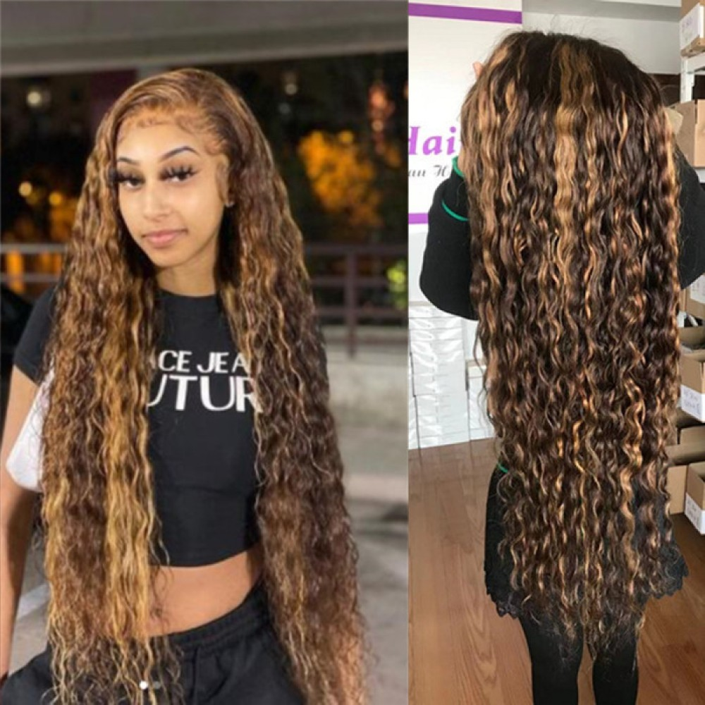 4 27 highlights water wave Human Hair Wig Brazilian transparent Lace front Wigs For Black Women 180% density