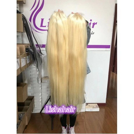 30inch 180% density 613 blonde Human Hair Lace Front Wigs Silk Straight / body wave texture