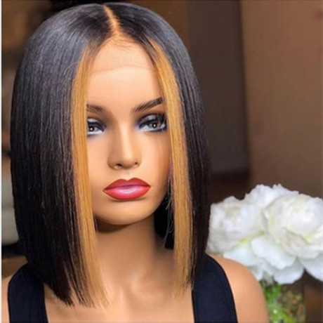 highlights 1b 27 silky straight bob lace front wig LS10301