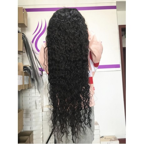 13x6 Lace Front Wigs 180% density water wave curly virgin brazilian Remy human Hair wig LS1092