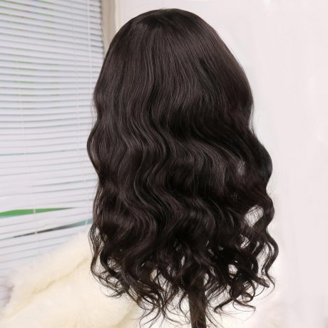 180% density Body wave Human Hair Wigs With Bang For Black Woman body wave