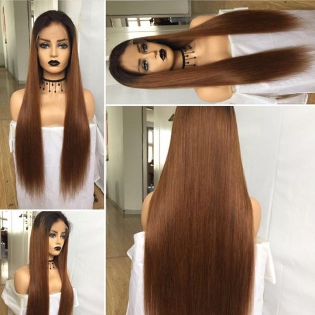 #1B/30 dark roots ombre lace front  Wig 130% density Virgin Human Hair silky Straight Lace Frontal Wig LS9171