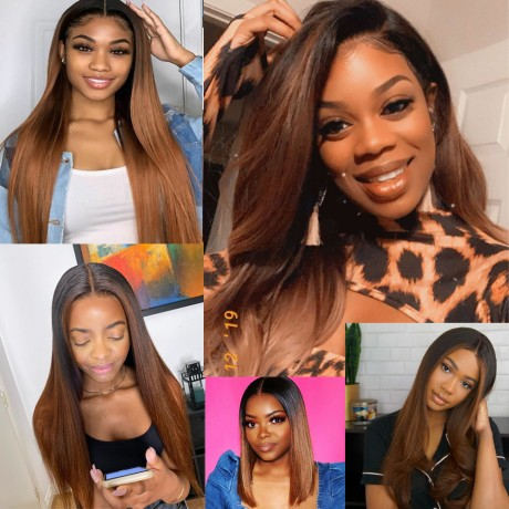 #1B/30 dark roots ombre lace front  Wig 150% density Virgin Human Hair silky Straight Lace Frontal Wig LS9171