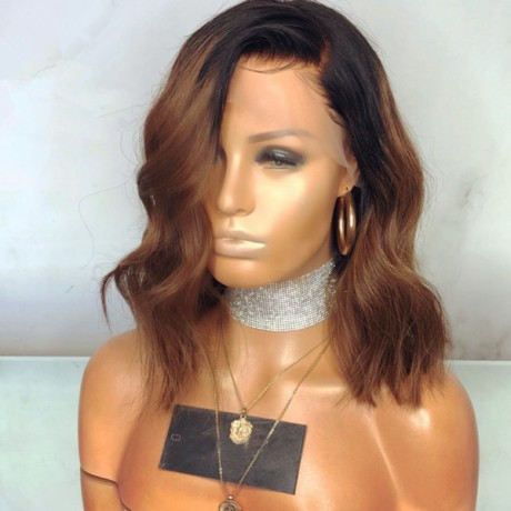 1b 30 wavy and silky straight dark roots ombre two tone  bob human hair lace front wig LS10185