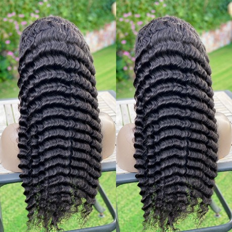 30inch 180% density Deep Wave Human Hair transparent lace front Wigs With Baby Hair Pre-Plucked Remy Hair Natural Black lishahair LS6124