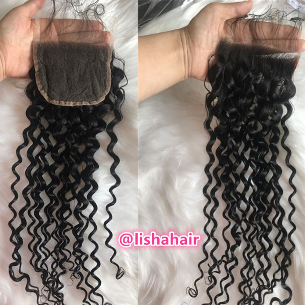 Curly 4x4 HD Lace Closure with baby hair bleached knots DHL Fast Free Shipping