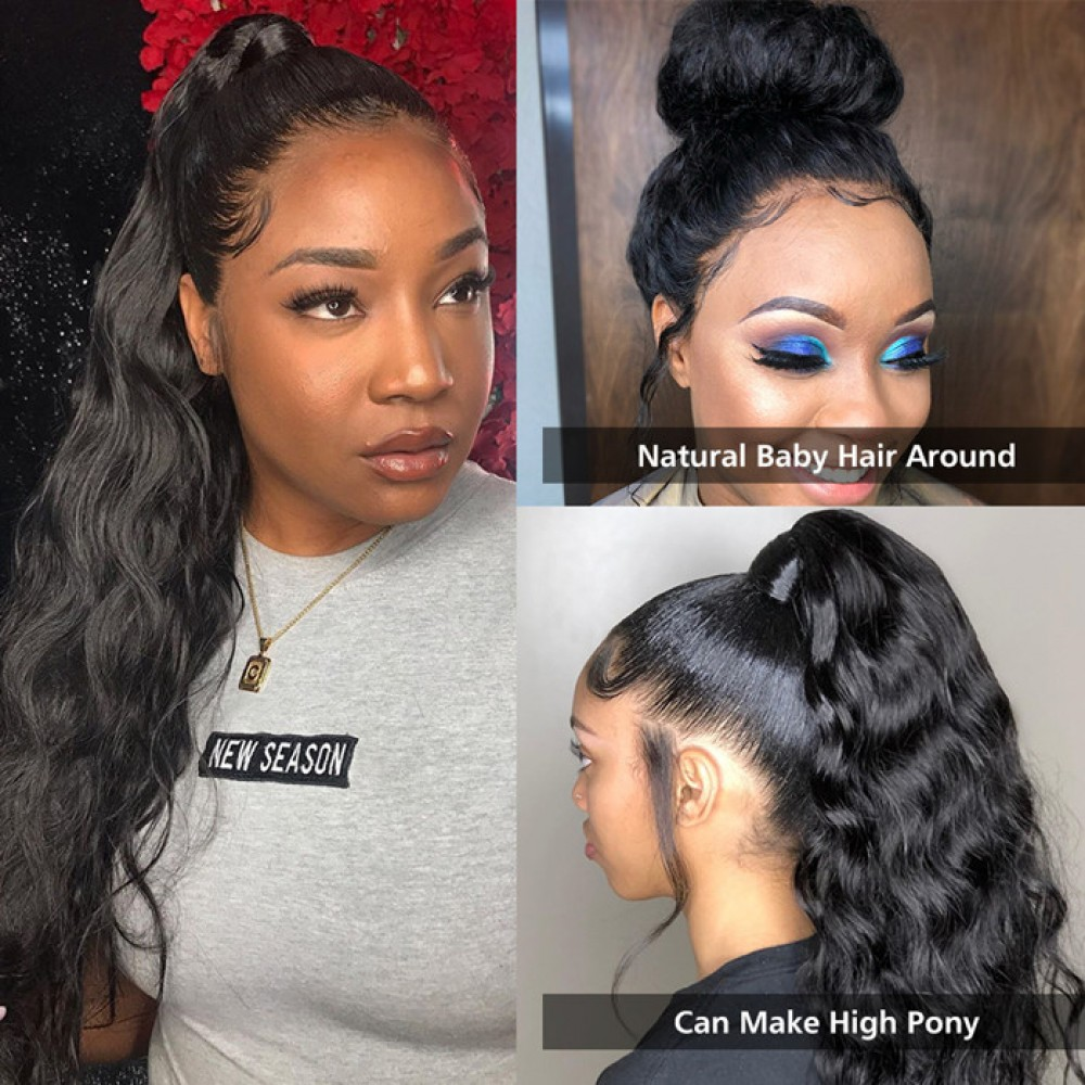 180% density Brazilian body wave 360 Lace Front Human Hair Wigs Pre Plucked Lace Wig With Baby Hair LS8121