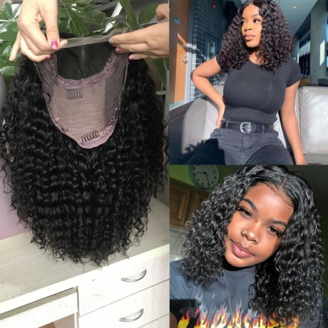 250% density 5x5 HD lace closure bob wig water wave curly style 14inch