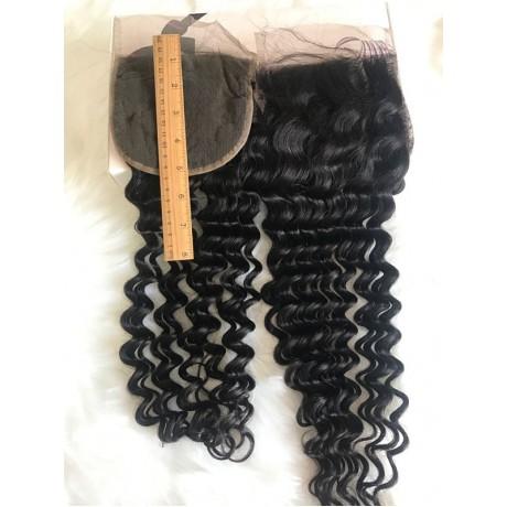 5x5 deep wave human hair Natural Hairline Virgin Hair bleached knots Lace Closure Piece