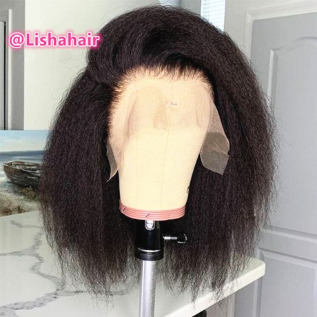 12inch 150% density Kinky straight bob Lace Front Brazilian Human Hair Wigs  Glueless wig Bleached Knots For Women LS7131