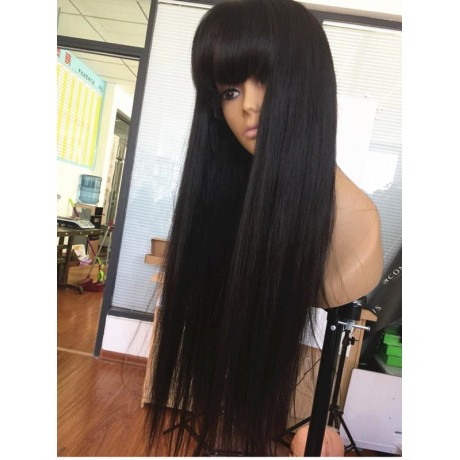 180% density 28inch  Lace Front Wigs With Bang silky straight for Black Woman Lishahair LS95233