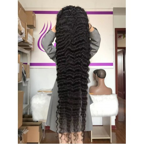 Loose deep wave style long 20-40inch virgin Brazilian human hair Glueless Lace Front Human Hair Wigs transparent lace