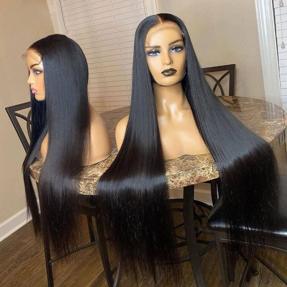 5x5 lace closure wig Pre Plucked silky straight Brazilian Straight Human Hair Wigs With Baby Hair Bleached Knots LS683