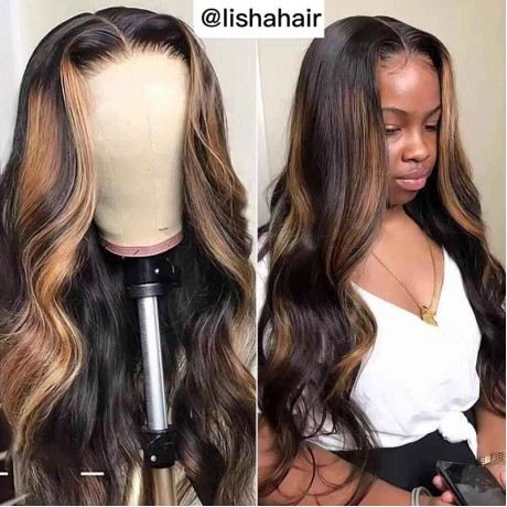 Highlights body wave Lace Front Human Hair Wigs PrePlucked  1b 27 Honey Blonde Highlights LS663