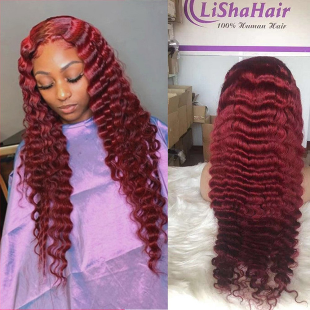 99j burgundy deep wave silky straight Lace Front Human Hair Wigs Pre Plucked with baby hair