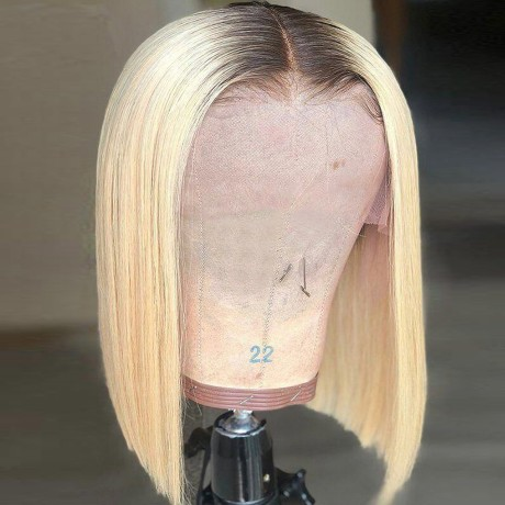 180% density 1b 613 dark roots blonde bob lace front wig silky straight style