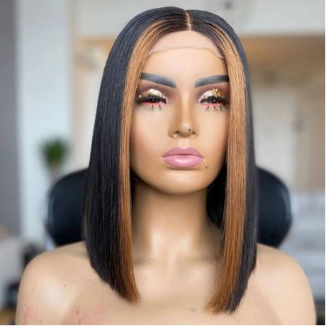 highlights 1b 27 silky straight bob13x4 transparent lace front wig LS10301