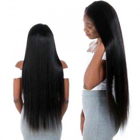 150% density 30inch long virgin human hair lace front wig bleached knots
