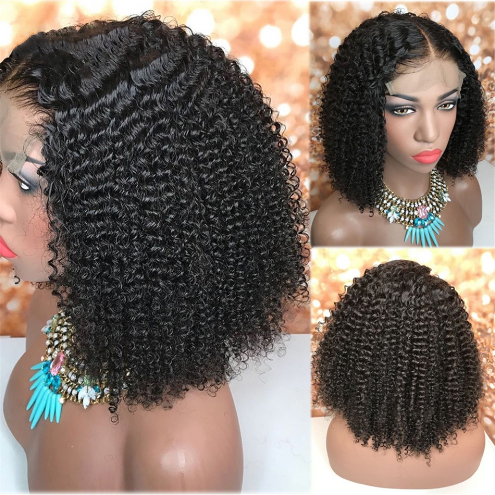 5x5 Lace closure wig 150% density pre plucked hairline with baby hair bleached knots kinky curly style