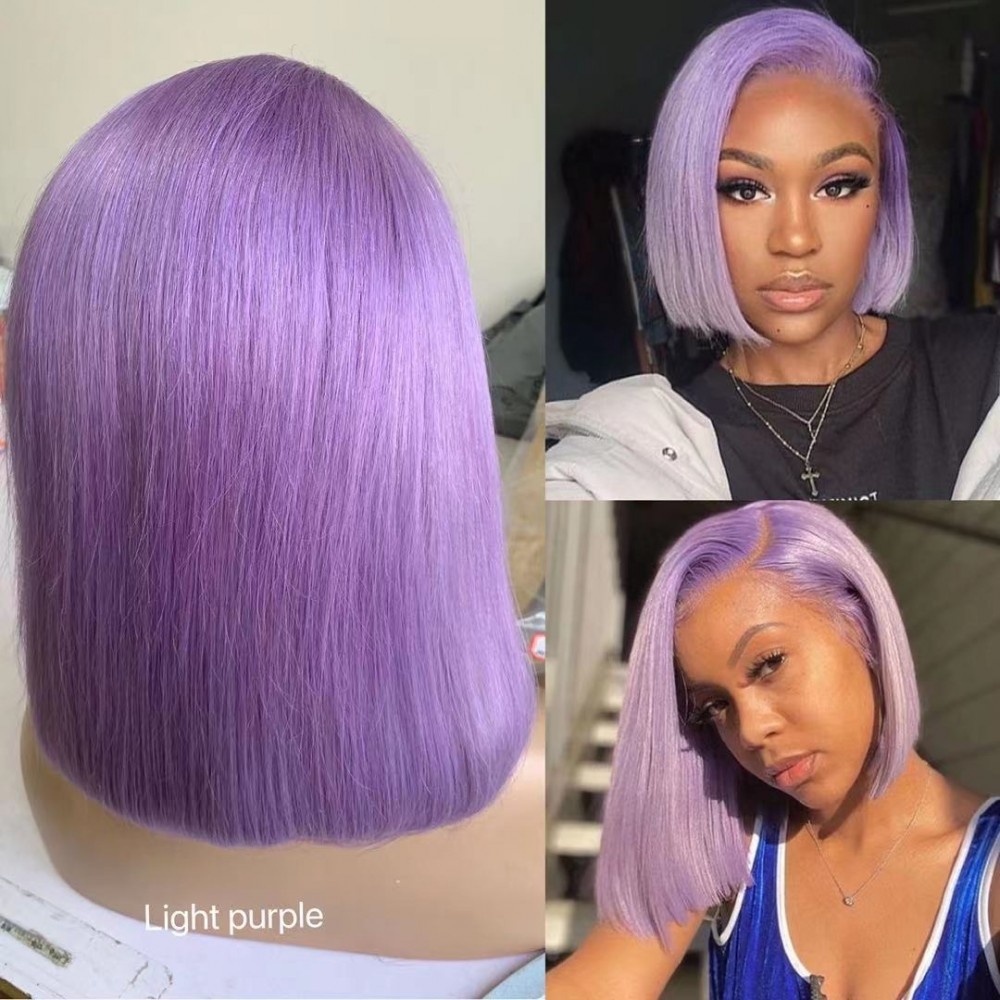 Light purple color silky straight human hair lace front wig violet purple hair bob 13x4 transparent lace front wig 180% density