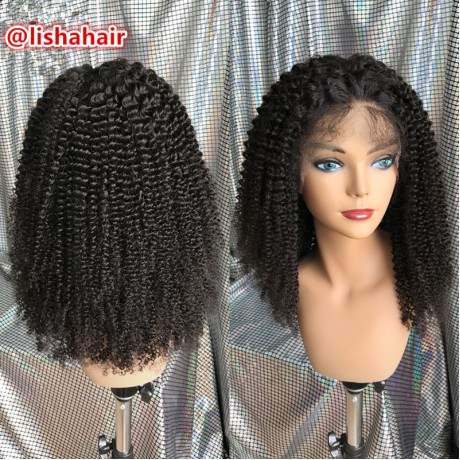brazilian human hair kinky curly style lace front wig with baby hair for black women LS8221