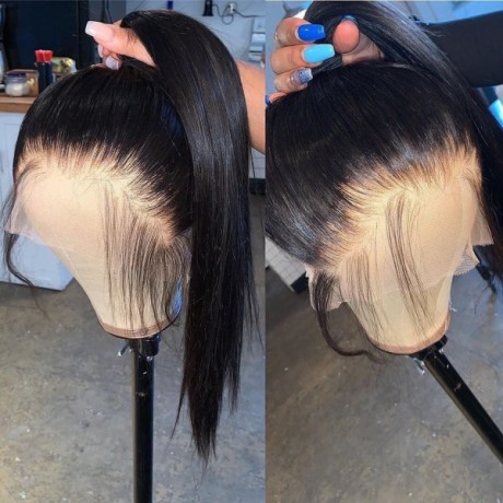 Pre Plucked 360 Lace Frontal silky straight Wig With Baby Hair 130% 150% Invisible Knot Wig Ponytail Human Hair Pre Plucked Lace Wig LS991