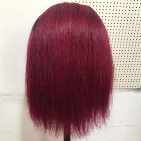 Dark roots 1b 99j Ombre Human Hair Wig Dark Roots Short Bob Lace Front Human Hair Wigs