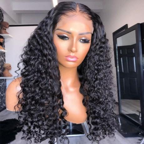 5X5 HD Lace Closure water wave Wig Virgin Brazilian Human Hair  wavy Style