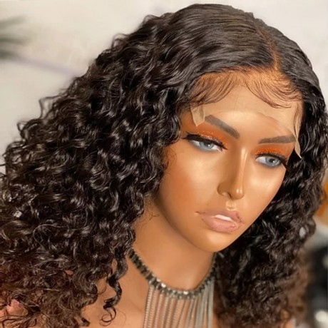 14inch water wave curly 5x5 Lace closure virgin Human Hair Wigs Bob transparent Lace Wig 180% density Pre Plucked LS7165