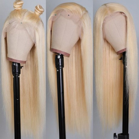 150% density 613 Blonde Lace Front Wig virgin brazilian Straight Human Hair Wigs With Baby Hair LS7301