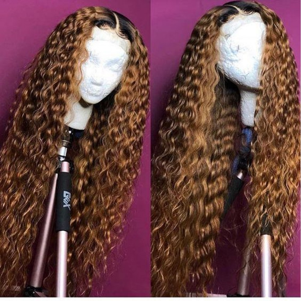 1b 30 Curly Human Hair Wig Brazilian Remy Hair Ombre Lace Front Wig Preplucked Glueless Lace front Wigs For Black Women LS6201