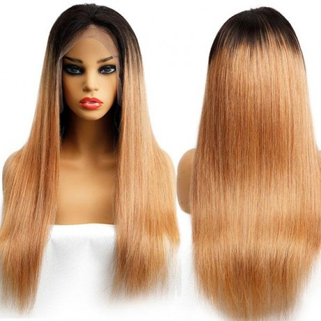 150% density  Pre Plucked Brazilian Human Virgin Hair dark roots ombre 1b/27 silky straight human hair lace wig