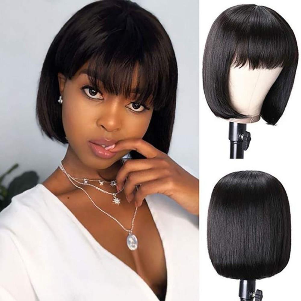180% density Lace Front Short Bob Wig Brazilian virgin Human Hair Wigs With Bangs Straight Hair LS5221