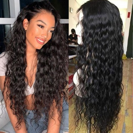 150% density virgin brazilian human hair natural water wave style lace front wigs preplucked hairline LS1271