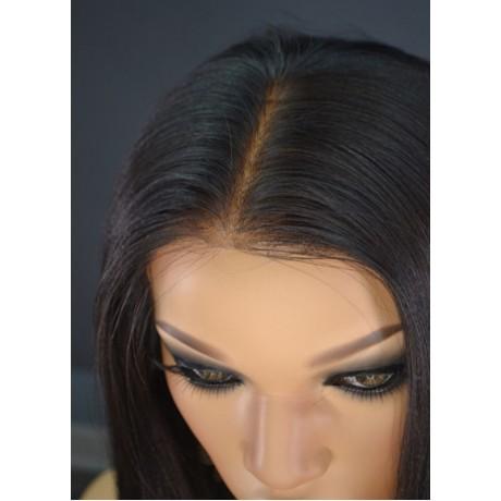 LIGHT YAKI straight virgin brazilian human hair Lace Front WIG FOR BLACK WOMEN LS902